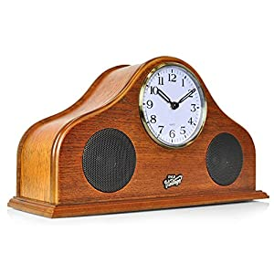 Pyle 2-in-1 Vintage Style Clock, Retro Bluetooth Speaker, Tabletop Clock, Handcrafted Birchwood, Quartz Clock, USB Charging, Full Bass Sound System, Built-in Speakers, 25 Watt, Brown (PVNTLCL41BT)