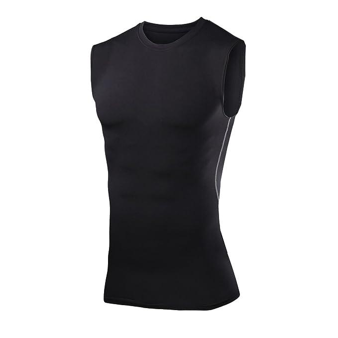 cff7b9ff Amazon.com: RUNYA Men's Compression Sleeveless T-shirt Baselayer ...
