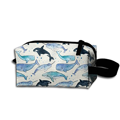 Vintage Narwhal Unicorn Multifunction Storage Bag Buggy Bag Travel Cosmetic Bags Small Makeup Clutch Pouch Cosmetic And Toiletries Organizer Bag ()