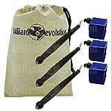 Set of 3 Blue Pocket Chalk Holders with Billiard Evolution Drawstring Bag
