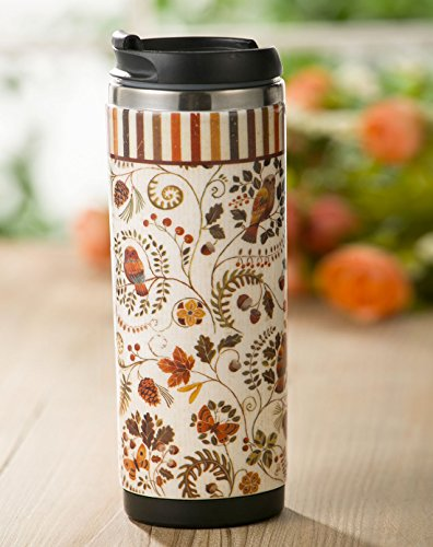 Evergreen Fall Floral Owls Stainless Steel Travel Mug, 12 ounces - Evergreen Pinecone Wall