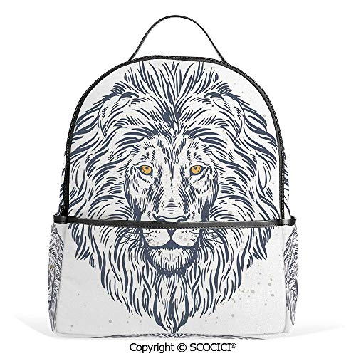 Casual Fashion Backpack Forest Kind Lion Portrait Astrology African Wildlife Creature Illustration,Cadet Blue White,Mini Daypack for Women & Girls
