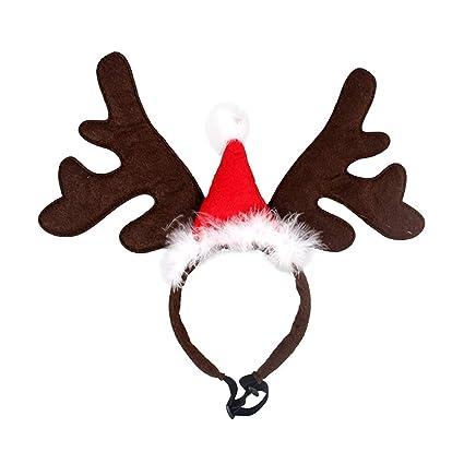 f16589b7fca Amazon.com   Zafina-UP Pet Christmas Headband Hat Costume Reindeer ...
