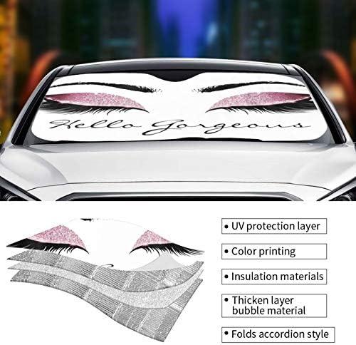 Oarencol Colorful Women Eyes Car Windshield Sun Shade Hello Gorgeous Foldable UV Ray Sun Visor Protector Sunshade to Keep Your Vehicle Cool 55 x 27.6