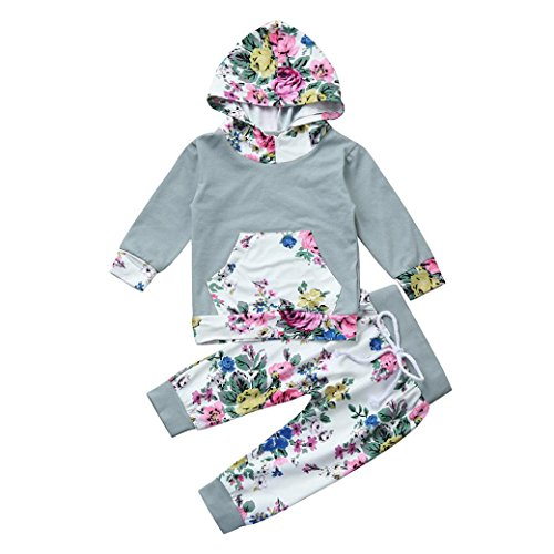 DaySeventh Toddler Baby Boy Girl Clothes Set Floral Hoodie Tops+Pants Outfits (12M, Multicolor (Quote Kids Hoodie)