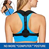 Back Posture Corrector for Women and Men, Adjustable Posture Support Clavicle Brace Trainer Upper Back Straightener with Two Pads for Hunchback, Slouching, Rounded Shoulder, Neck Pain Relief Black