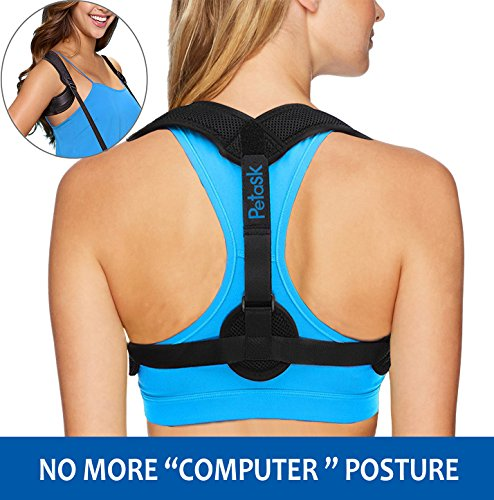 Back Posture Corrector for Women and Men, Adjustable Posture Support Clavicle Brace Trainer Upper Back Straightener with Two Pads for Hunchback, Slouching, Rounded Shoulder, Neck Pain Relief Black by Petask