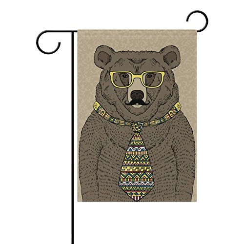 Raininc's Hipster Bear with Tie and Glasses Garden Flag Double Sided Fade Resistant Polyester Holiday Decorative House Flag Banner (Glass House Glitters)