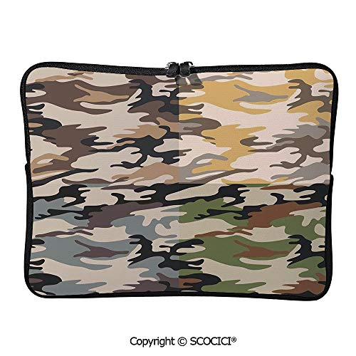 SCOCICI Camouflage Patterns in Four Going Undercover Laptop Sleeve Case Neoprene Carrying Bag for Any Tablet/Notebook 13 inch/13.3 inch
