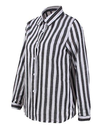 Lache Casual Col Et Tops Boutons T Rayure OL Femme Minetom Blouse Hauts Manches V Shirt Longues Chemisier Noir Verticale Chic lgant ZqaOxI