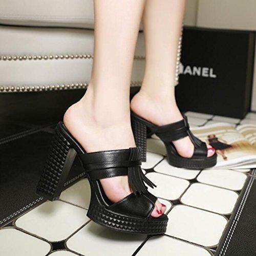 High elegantes Plataforma de Sandalias Negro CJC Sandalias impermeable Sandalias Heels de tacón Thin Toe High alto Heels moda CpqwxY