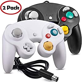 2 Pack iNNEXT Gamecube Controller, GC NGC Classic Wired Controller Compatible with Gamecube Wii Wii U Switch Video Game Console, 1.8m/5.9ft (Black + White)