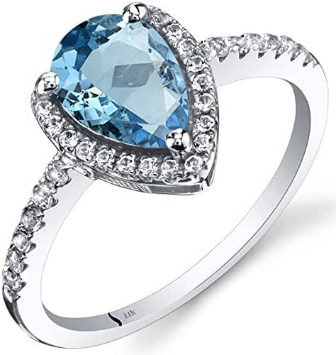 14K White Gold Swiss Blue Topaz Open Halo Ring Pear Shape 1.50 Carats Sizes 5 to 9