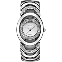 Silver Analog Bracelet Watches for Women Rhinestone Stainless Steel Wrist Watch