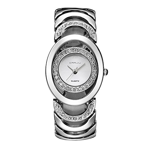 (Fashion Womens Watches Silver Analog Quartz Bangle Rhinestone Waterproof Stainless Steel Hollow Wrist Watch Bracelet)