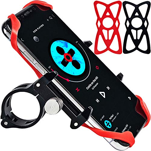 Aluminum Bike Phone Mount and Motorcycle Phone Mount with 2 Adjustable Anti Shake Silicone Strap, Bicycle Handlebars & Stem, ATV, Compatible for All Smartphones iPhone X/XR/6/7/8 Plus Galaxy S9/S8/S7 ()