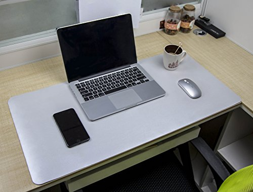 "Multifunctional Office Desk Pad, YSAGi Ultra Thin Waterproof PU Leather Mouse Pad, Dual Use Desk Writing Mat for Office/Home- 31.5"" x 15.8"" (White + Silver) (Multi Functional Desk)"