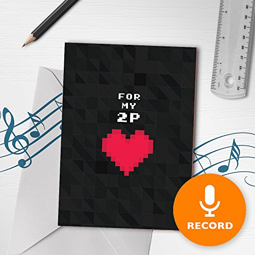Musical Valentines Day Cards - Geeky Musical Love Card | Gamer Valentines Day Card, Nerdy Musical Greeting Card, Pixel Art Card, For My Player 2 Card 00080 (120 Second Recordable)