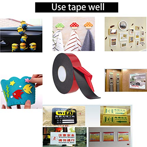PE Foam Double-Sided Adhesive Tape -Outdoor and Indoor Super Strong Foam Seal Strip for Automotive Mounting,Weatherproof Decorative and Trim,Car Trim Strip,Photo Frame (Wide 2 in Long 33 Ft) Photo #5