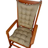 Rocking Chair Cushions - Madrid Gingham Check Black & Tan - Size Extra-Large - Latex Foam Fill, Reversible