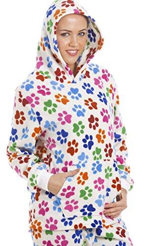 Camille - Conjunto de pijama con capucha para mujer - Forro polar - Huellas de perro de colores - Blanco Blanco