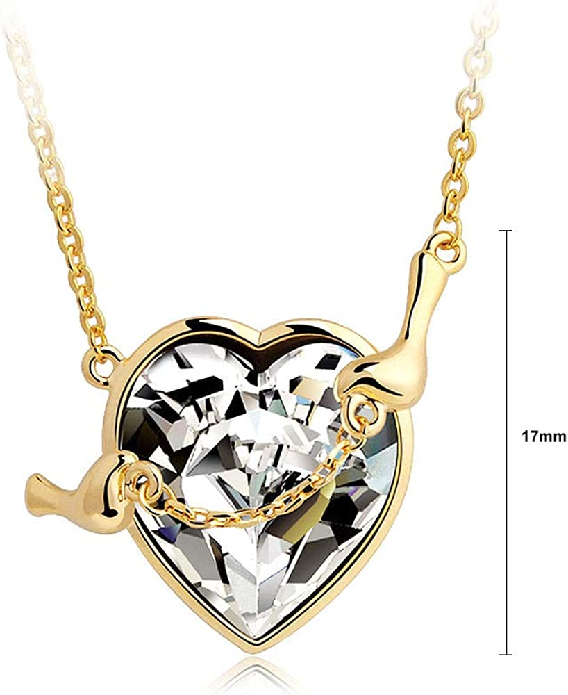 9536 Glamorousky Golden Heart-Shape Pendant with White Austrian Element Crystal Necklace