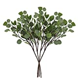 CEWOR 4pcs Artificial Silver Dollar Eucalyptus Leaf Spray(25.5in) Artificial Leaves Artificial Plants for Wedding Party Home Decoration