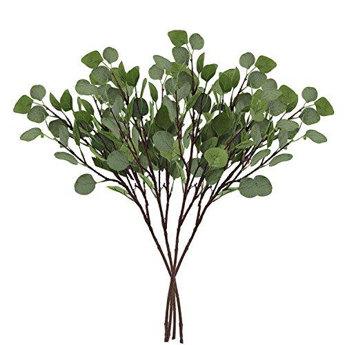 CEWOR 4pcs Artificial Silver Dollar Eucalyptus Leaf Spray(25.5in) Artificial Leaves Artificial Plants for Wedding Party Home Decoration (4 pcs)