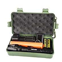Compia-PROBE SHINY Fluorescent Sticks XM-L T6 LED 8000 Lumens Adjustable Focus Shadowhawk Rechargeable Super Brigh Flashlight Torch Set( Flashlight Keychain,2x18650 Batteries,Battery Charger(US Plug),Box,Fluorescent Sticks)