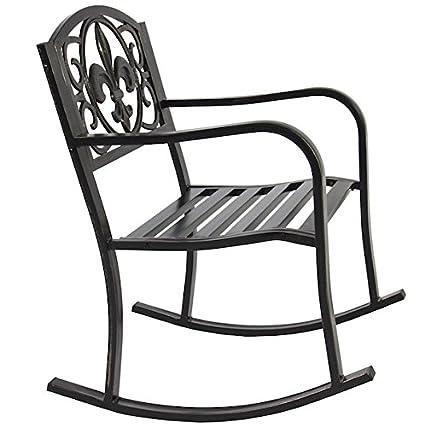 Genial HPW Patio Rocking Chair Durable Wrought Iron Construction Porch Seat Glider  Rocker Armrest Deck Outdoor Backyard