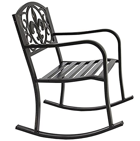 Amazoncom Hpw Patio Rocking Chair Durable Wrought Iron