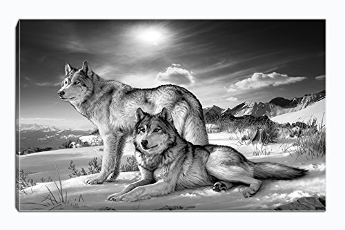 Wolf Canvas Print Wall Art Black and White Animal Painting Picture Stretched and Framed for Living Room Bedroom Bathroom Office Decor (Black and White7) by YingYu Art