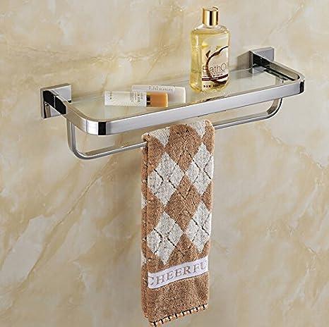 30 cm acero inoxidable 304 toalla de baño estante de cristal con accesorio de baño ducha soporte para utensilios de baño ducha succión Estante de pared.