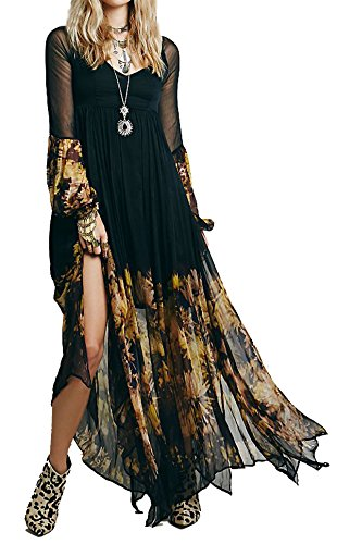 [R.Vivimos Women Chiffon Flower Printing Split Asymmetrical Long Dresses XLarge] (Hippie Dress)