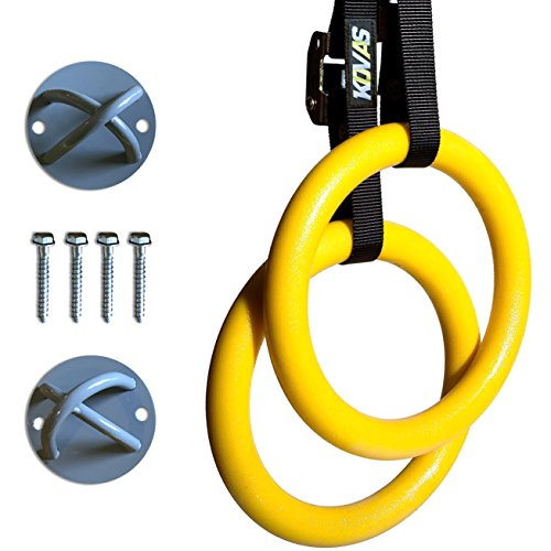 Gymnastic Rings with Adjustable Straps & Ring Mounts - Home Gym Gymnastics Equipment - Improve Fitness Strength & Balance with Body Weight Training Exercises
