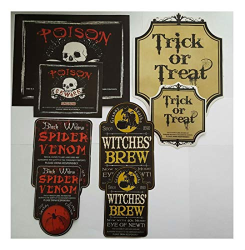 8 Halloween POISON BOTTLE LABEL STICKERS Zombie Party -