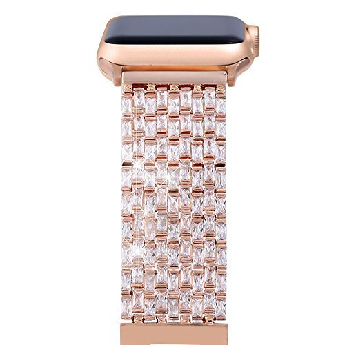 FresherAcc Smart Watch Band, Luxury Zircon Stones Replacement Strap Compatible Smart Watch All Series Crystal Rhinestone Diamond Watch Bracelet Wristband Stainless Steel Band (38MM Rose Gold)