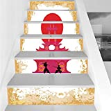 Stair Stickers Wall Stickers,6 PCS Self-adhesive,Japanese,Medieval Battle Landscape at Sunset in front of Temple Asian Culture Print,Red Yellow White,Stair Riser Decal for Living Room, Hall, Kids Room