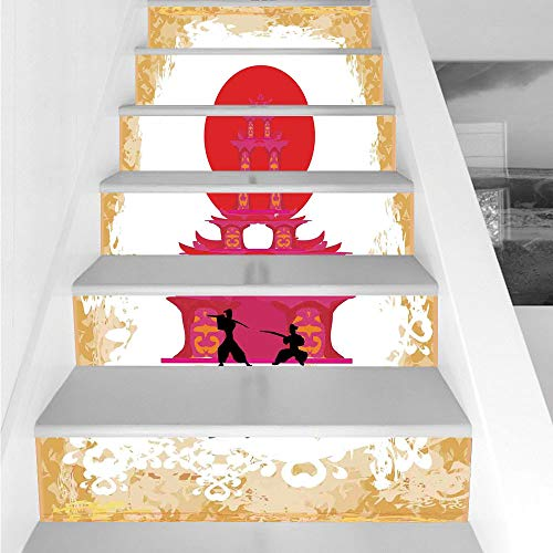 Stair Stickers Wall Stickers,6 PCS Self-adhesive,Japanese,Medieval Battle Landscape at Sunset in front of Temple Asian Culture Print,Red Yellow White,Stair Riser Decal for Living Room, Hall, Kids Room ()