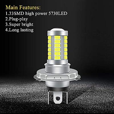 KaiDengZhe 2pcs High Power H4 HB3 9003 Car Fog Light 5730 33SMD Super Bright White 6500K LED Motorcycle Headlight Bulb Car Daytime Running Light DRL Fog Lamp 12-24V: Automotive
