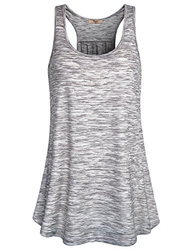 Top Tank Shirt Basic Rib (Cestyle Women Athletic Shirts Dry Fit, Basic Essential Sport Clothes Sleeveless Scallop Bottom Rib Racerback Tank Top Grey Marble Medium)