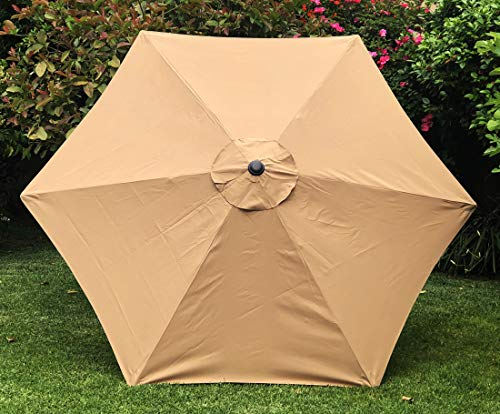 BELLRINO DECOR Replacement MEDIUM COFFEE TAUPE STRONG THICK Umbrella Canopy for 9ft 6 Ribs MEDIUM COFFEE TAUPE Canopy Only