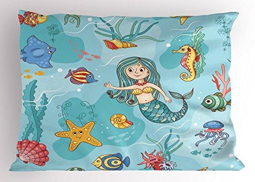 Underwater Pillow Sham by Ambesonne, Pattern with Mermaid Wildlife Tropical Jellyfish Goldfish Cheering Seahorse, Decorative Standard Size Printed Pillowcase, 26 X 20 Inches, (Wild Horses Standard Sham)