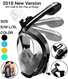 Full Face Snorkel Mask, 2018 New Foldable Snorkeling Mask Full Face with Detachable Camera Mount Pivot Arm and Earplug, 180° Large View Easy Breath Dry Top Set Anti-fog Anti-leak for Adults Black S M