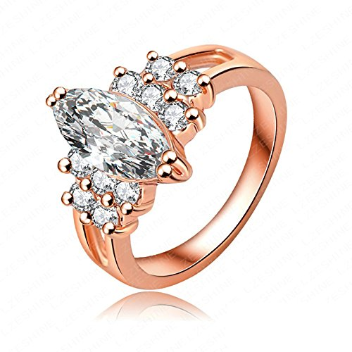 Womens Wedding Ring, Aokarry Engagement Promise Ring Cubic Zirconia Oval Rose Gold 13MM Size 5.5