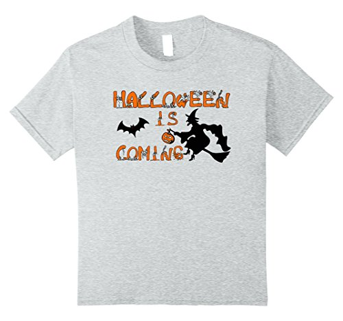 Kids Halloween is coming funny T-shirt 10 Heather Grey
