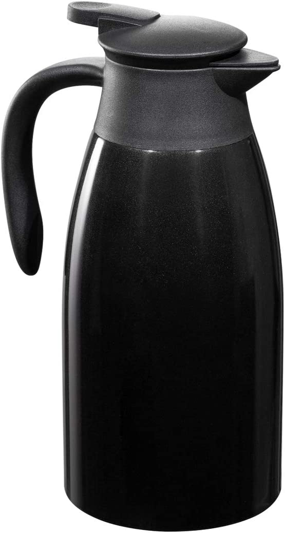 BonNoces 68 Oz Stainless Steel Coffee Carafe/Thermal Carafe - Dust Proof Cover - Fully Sealed - 2L Large Double Wall Vacuum Insulation Thermos - Keep Drink Hot and Cold (Black)