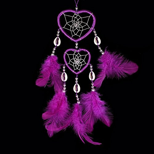 Handmade Dream Catcher Traditional Dreamcatcher Home Car Hanging Decoration Ornaments Dual Hearts Purple Feather