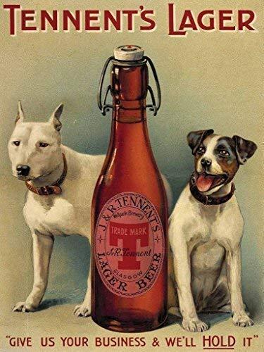 De Tennent Rubia con cerveza botella y dos perros Bebidas ...