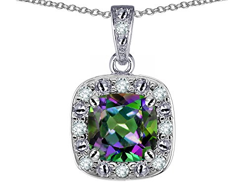 Star K 14k White Gold Cushion Mystic Topaz Halo Pendant Necklace
